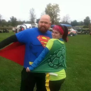Couple wearing costumes